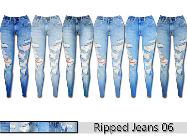 PZC_Ripped Denim Jeans 06 by Pinkzombiecupcakes