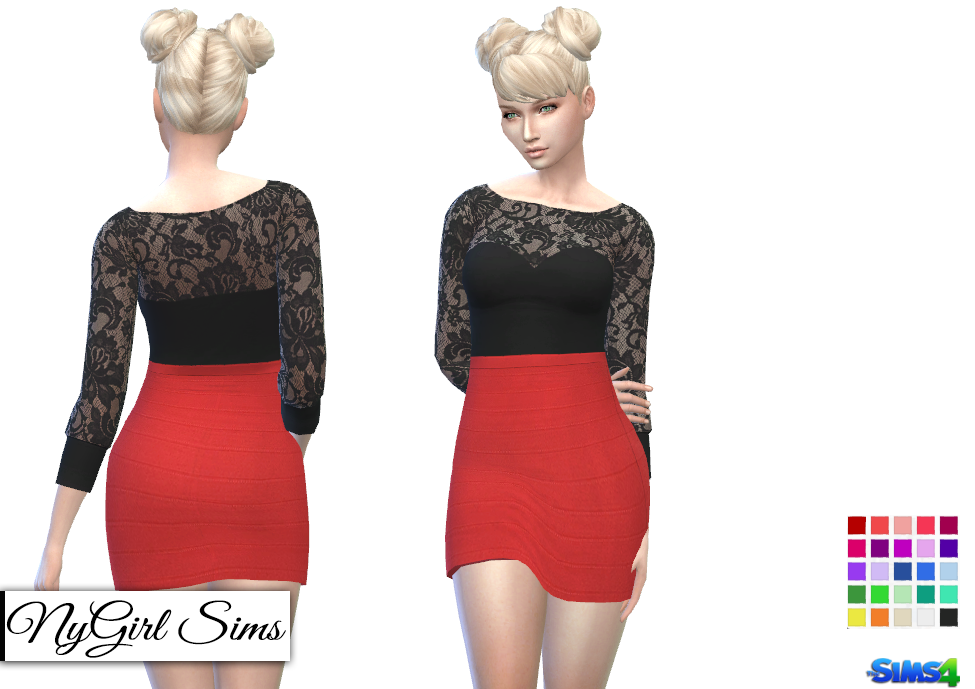 Lace Top and Bandage Skirt Dress by NyGirl