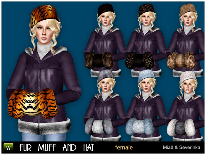 Accessory fur muff and hat by Mia8 & Severinka