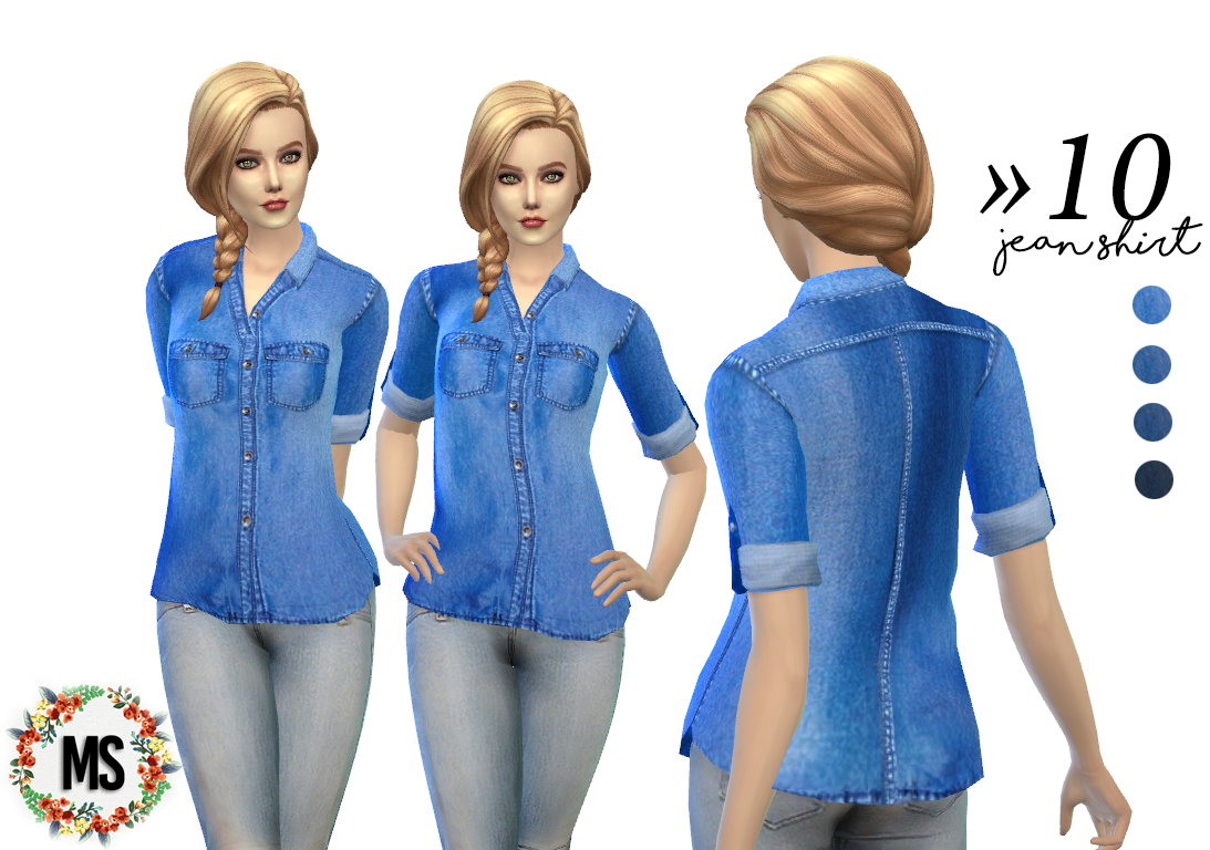 Jeans Shirt for Females by MerakiSims