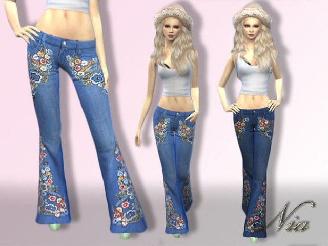 Embroided Flare Jeans by Nia