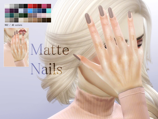 Matte Nails N02 by Pralinesims