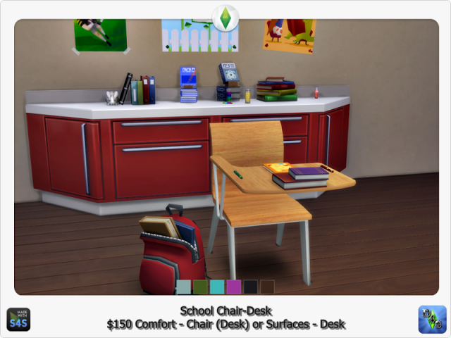 School Chair-Desk by Design4Sims