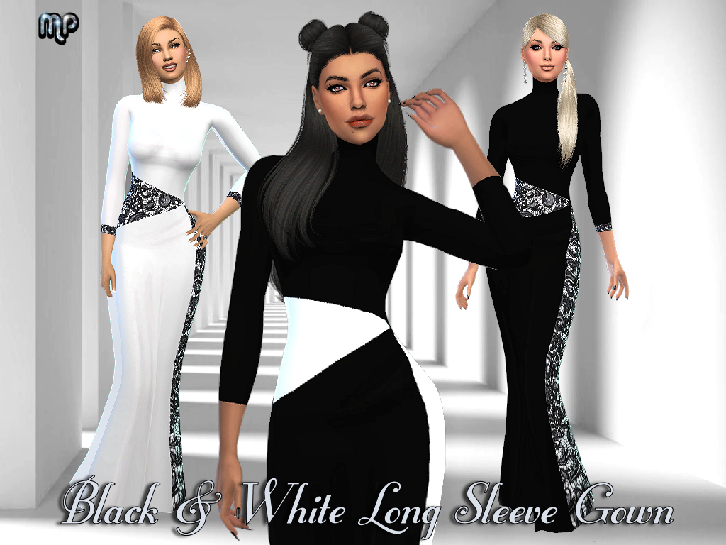 MP Black and White Long Sleeve Gown by MartyP