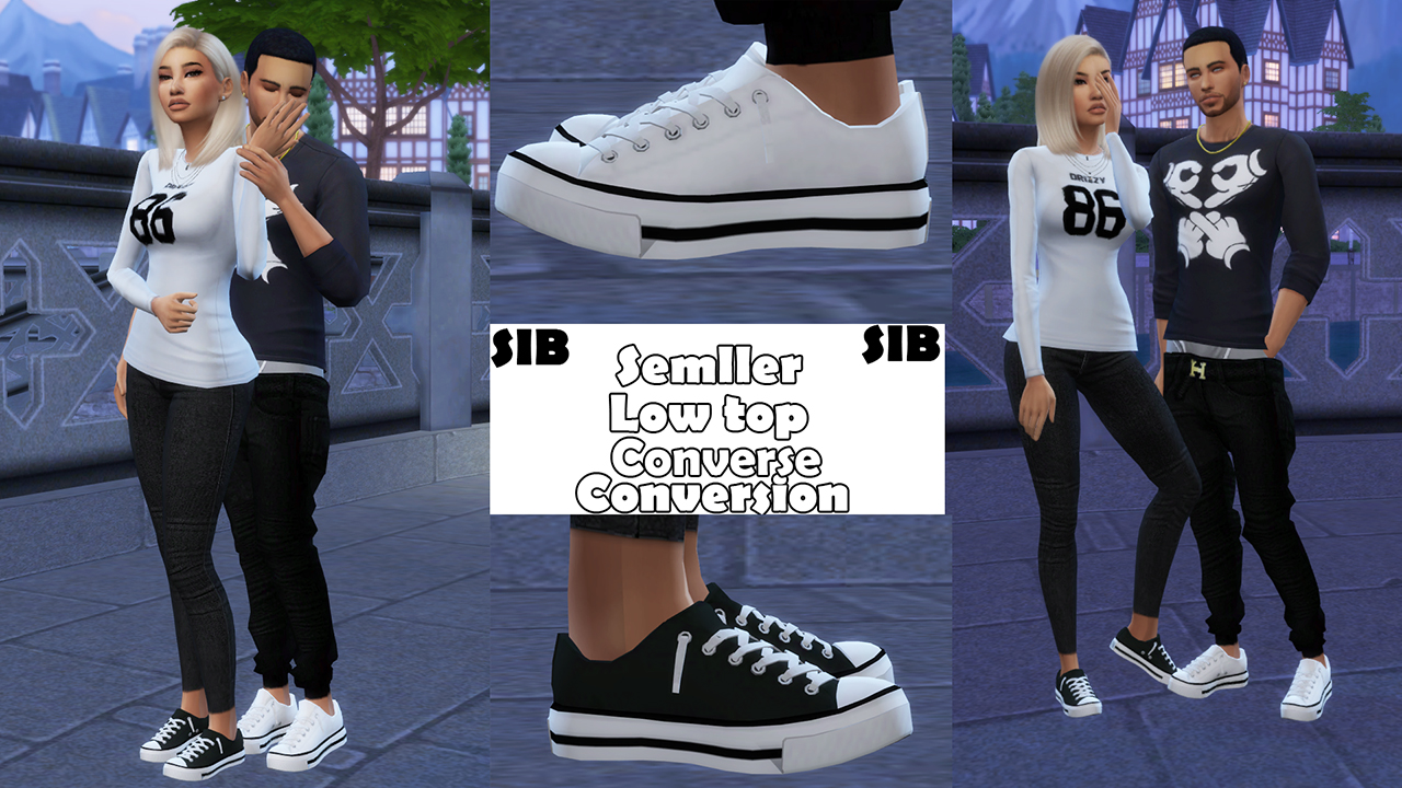 TS3 Semller Low Top Converse Conversion for Males and Females by SimsInBlaque