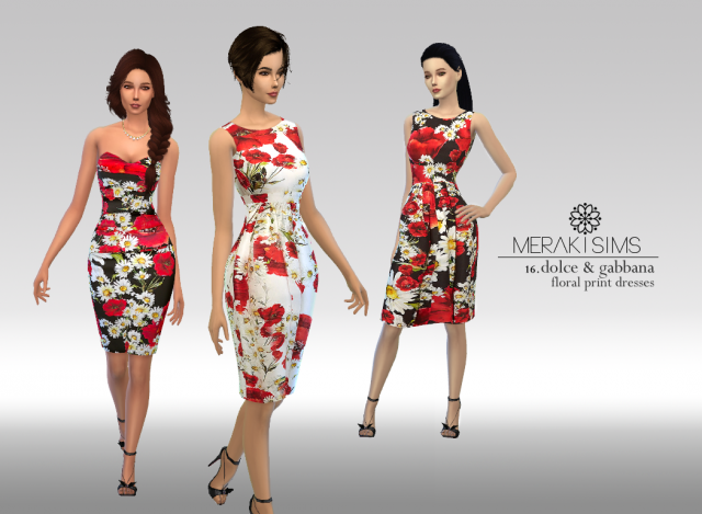 Dolce & Gabbanas floral-print dresses by merakisims