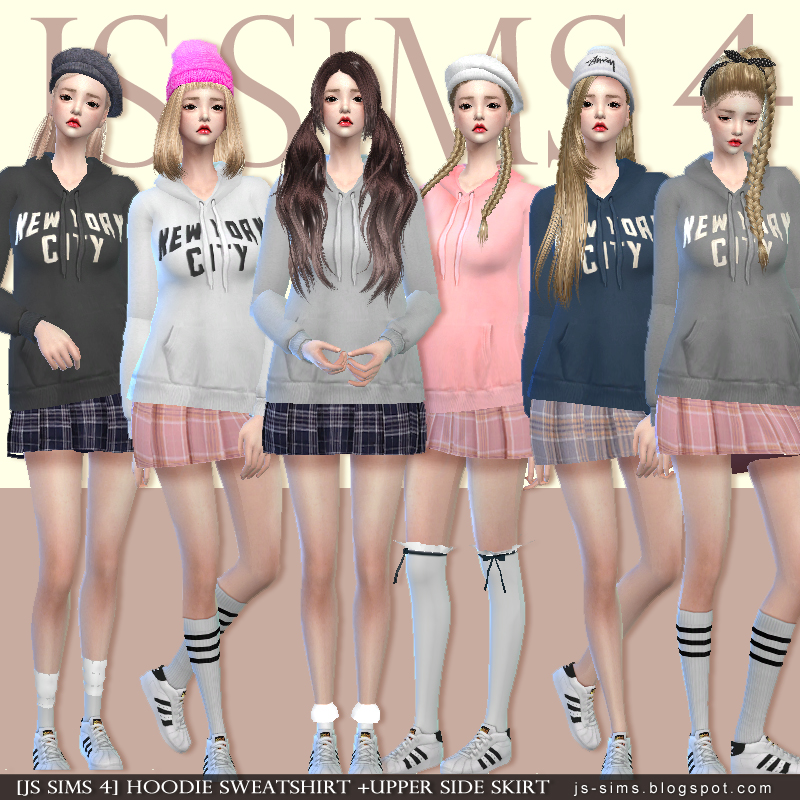 Hoodie Sweatshirt + Upper side skirt by JS Sims 4