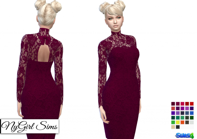 Open Back Turtleneck Lace Overlay Dress by NyGirl