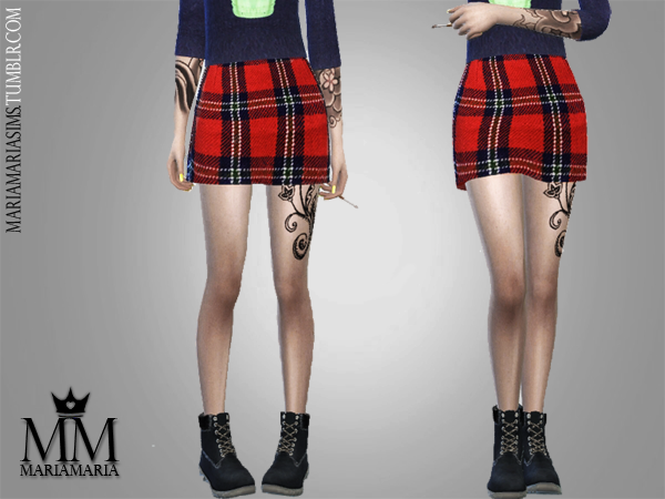 Macaroon Sweater & Red Plaid Skirt by MariaMaria