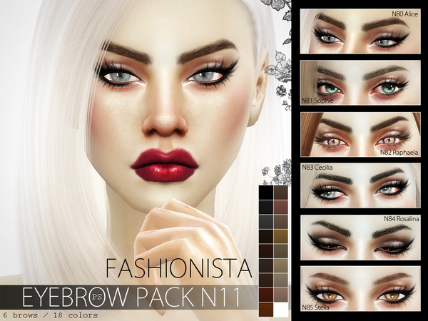 Fashionista Eyebrow Pack N11 by Pralinesims