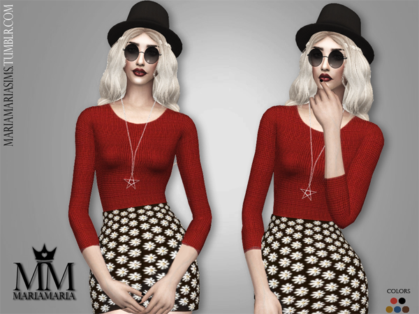 Knitted Sweater & Mini Flower Skirt by MariaMaria