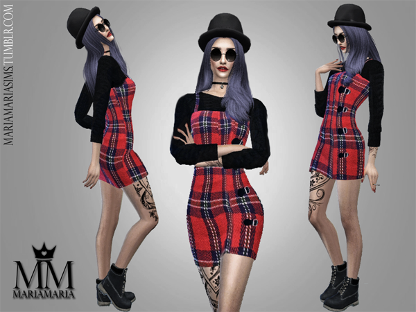 Red Plaid Dress by MariaMaria