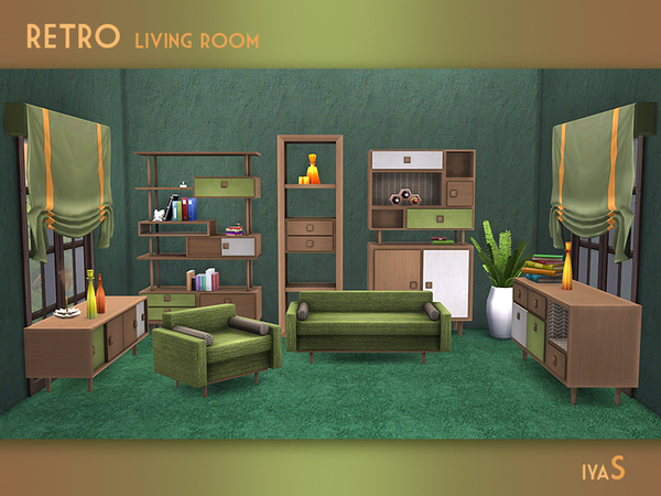 Retro Living room by soloriya