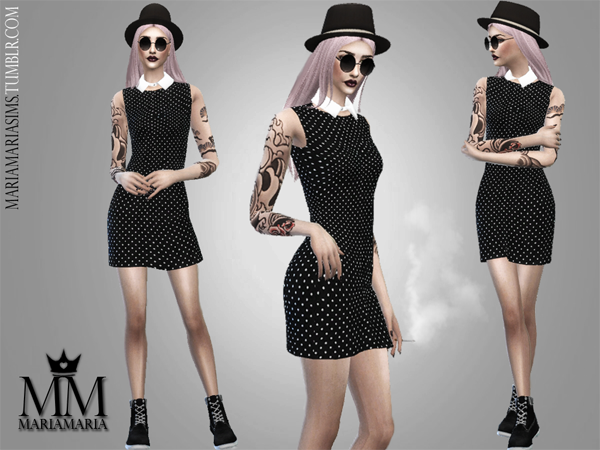 Black Polka Dot Dress by MariaMaria