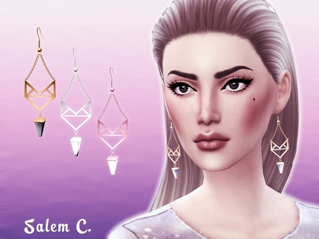 Winged Stone Earrings by salem2342