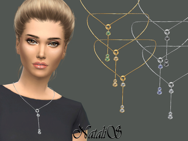 NataliS_Circle and Crystals Drop Necklace