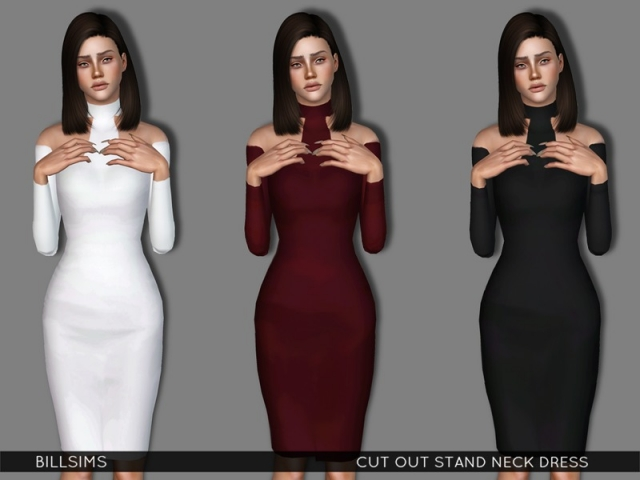 Cut Out Stand Neck Dress by Bill Sims