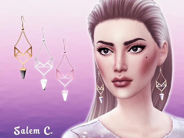 Winged Stone Earrings by Salem C