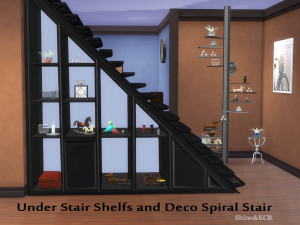 Under Stair Shelfs and Deco Spiralstair by ShinoKCR