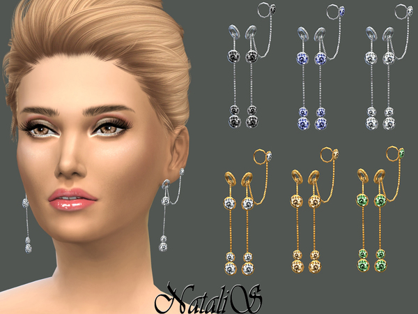 NataliS_Circle and Crystals Drop Earrings