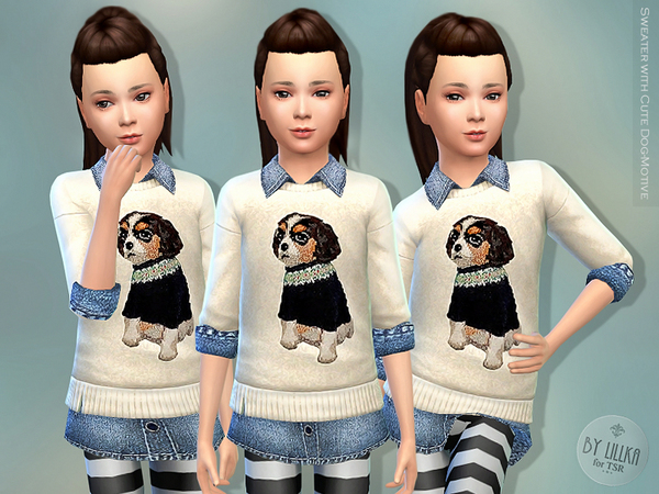 Sweater with Cute Dog-Motive by lillka