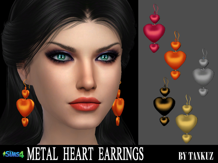 Metal Heart Earrings by Tankuz