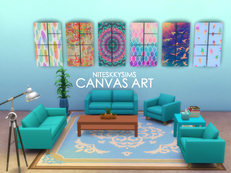 NiteSkky Sims  Objects, Decor : CANVAS ART COLLAGE