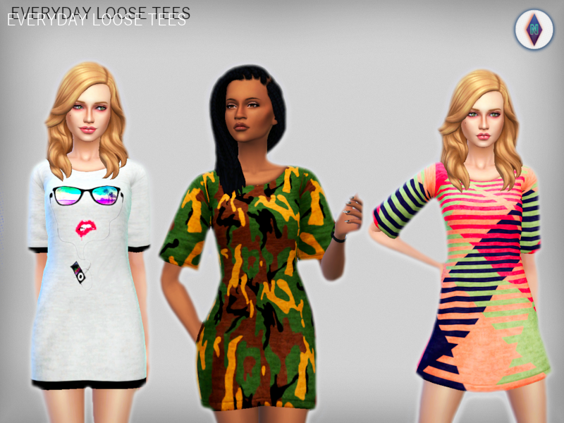 NiteSkky Sims  Clothing, Female : Everyday Loose Tees