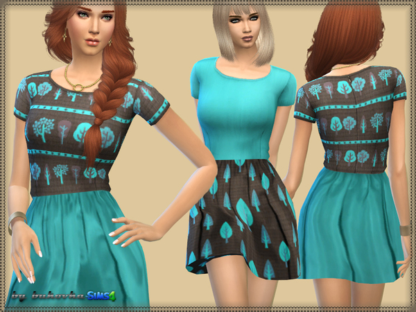 Dress Brown & Turquoise by bukovka