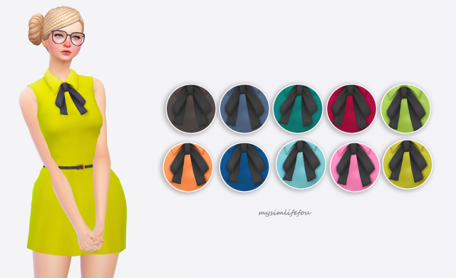 Bow Tie Sleeveless Dress by Mysimlifefou