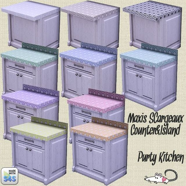 Updated Purty Kitchen Counter and Cabinets by LoveratSims4