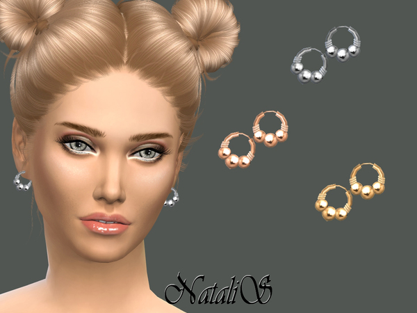 NataliS_Triple beads hoop earrings