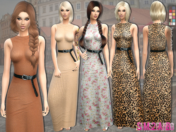139 - Long dress with belt by sims2fanbg