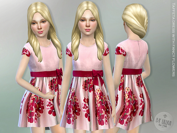 Taffeta Dress with Flowers by lillka
