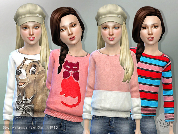 Printed Sweatshirt for Girls P12 by lillka