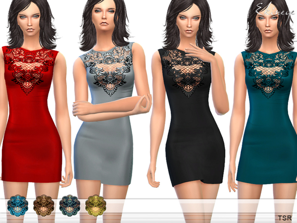 Lace Detail Mini Dress by ekinege