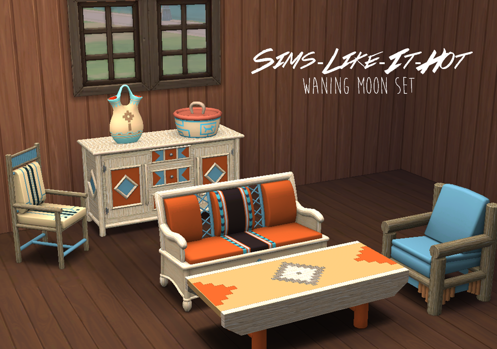 TS3 Waning Moon Living and Dining Set Conversion by SimsLikeItHot