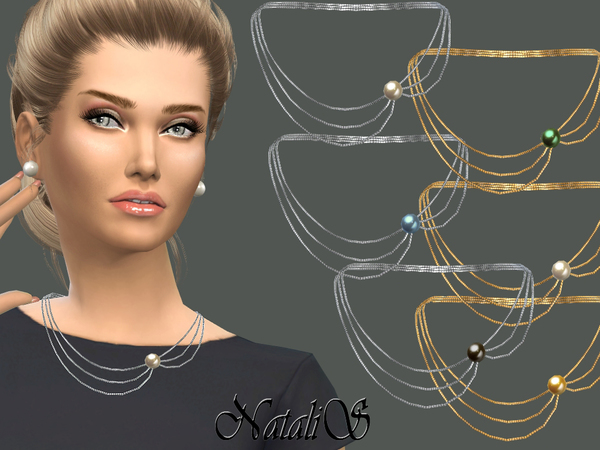 NataliS_Three-tiered necklace with pearl