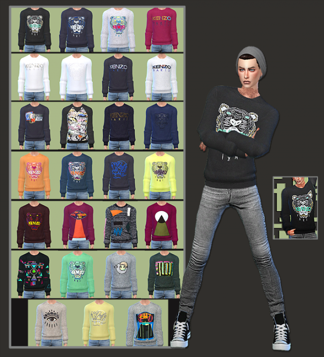 Kenzo Inspired Sweaters For Male Sims by Gisheld