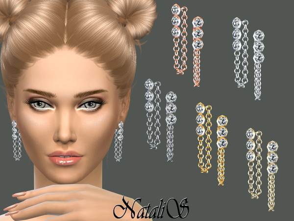 NataliS_Crystals and Chain Drop Earrings