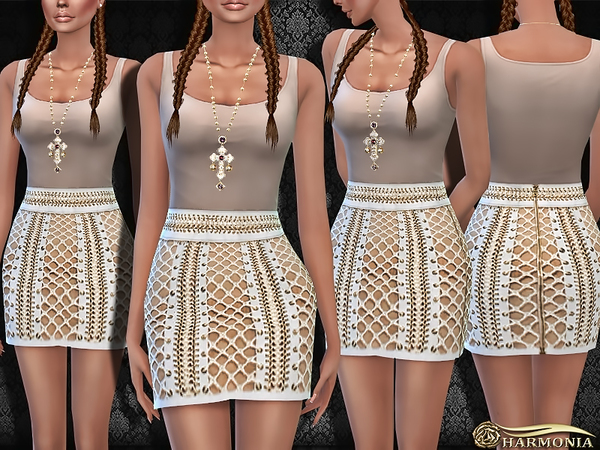 Designer Lace-up Leather Mini Skirt by Harmonia