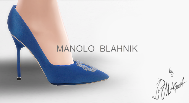 Manolo Blahnik Hangisi Blue Satin Pumps by MrAntonieddu