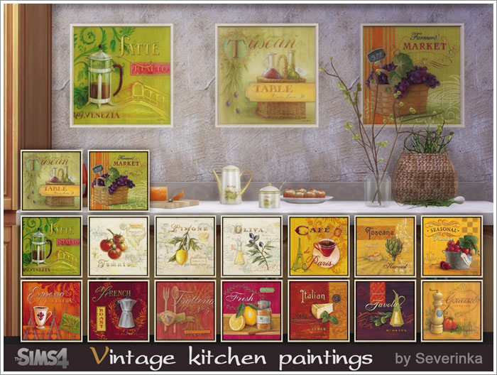 Vintage kitchen painting by Severinka