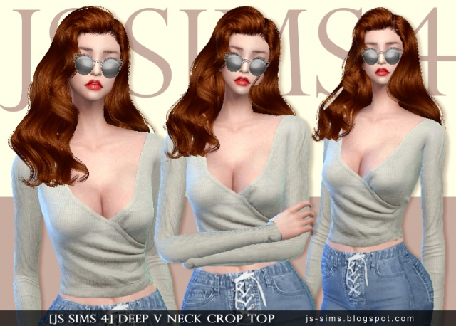 Deep V Neck Crop Top by JS Sims 4
