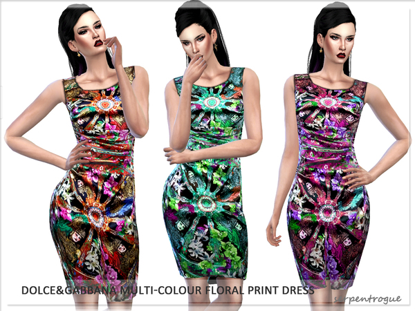 Dolce&Gabbana Multi-Colour Floral Print Dress by Serpentrogue