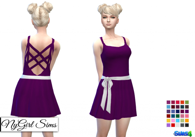 Cross Back Sundress with Sash and Bow by NyGirl