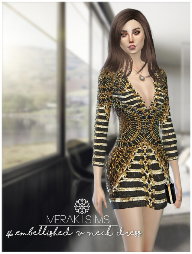 46.Embellished V neck dress -BALMAIN- by merakisims