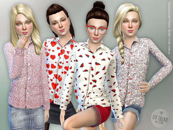 Signature Print Shirt for Girls by lillka