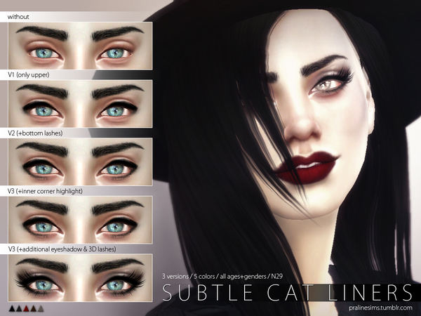 Subtle Cat Liners N29 by Pralinesims