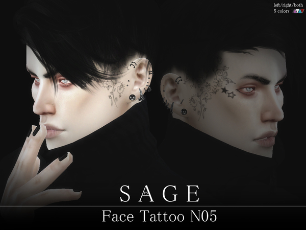 Sage Face Tattoo N05 by Pralinesims